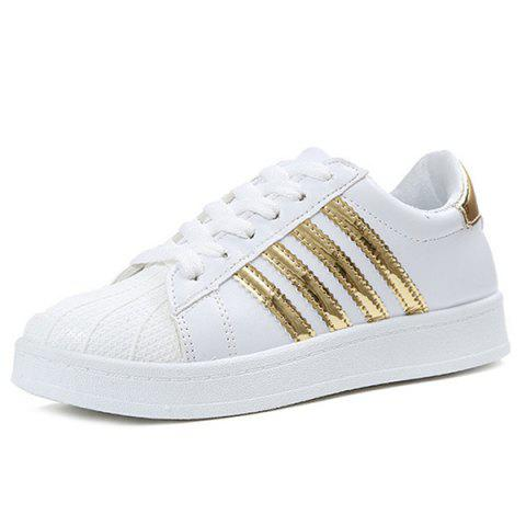Trendy Shell Toe PU Leather Athletic Shoes - 39 GOLDEN Mobile