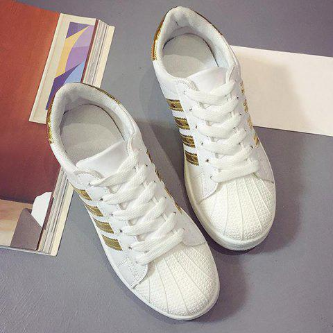 New Shell Toe PU Leather Athletic Shoes - 39 GOLDEN Mobile