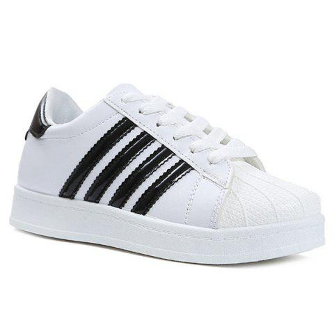 Shop Shell Toe PU Leather Athletic Shoes - 40 BLACK Mobile