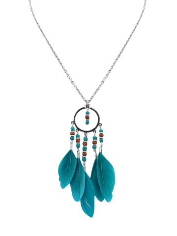 Bohemian Beads Feather Necklace - Blue - 40