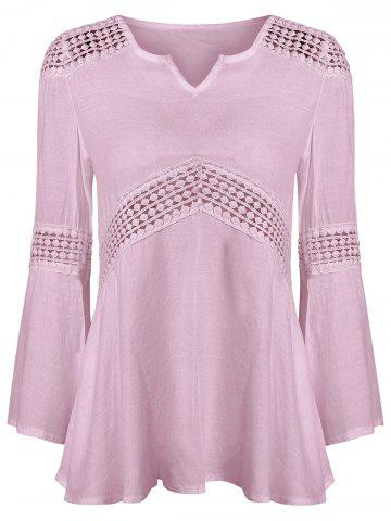 Hot Lace Splicing V Neck Tunic Blouse PINK S