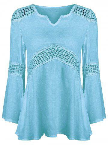 New Lace Splicing V Neck Tunic Blouse