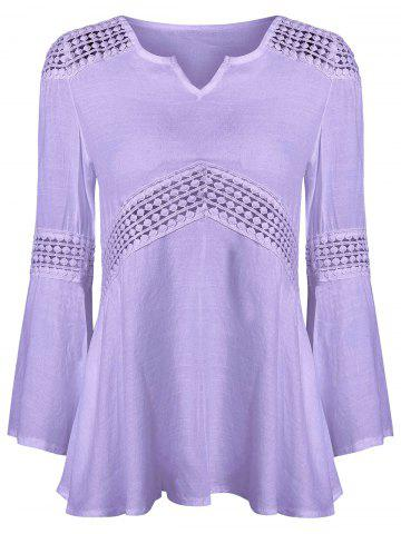 Outfit Lace Splicing V Neck Tunic Blouse LIGHT PURPLE XL
