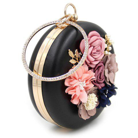 Chic Round Shaped Flowers Evening Bag - BLACK  Mobile