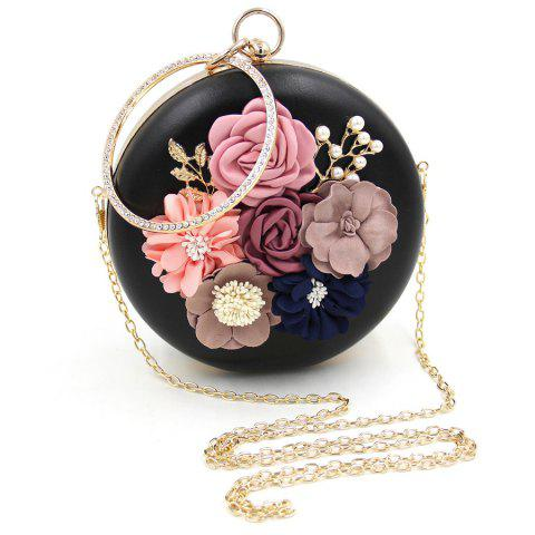 Hot Round Shaped Flowers Evening Bag - BLACK  Mobile