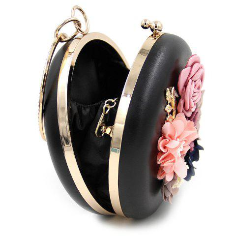 Trendy Round Shaped Flowers Evening Bag - BLACK  Mobile