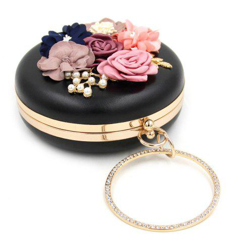Discount Round Shaped Flowers Evening Bag - BLACK  Mobile
