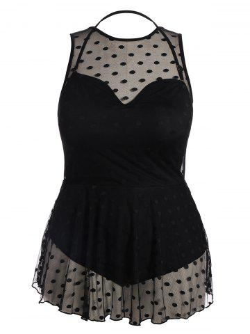 Buy Plus Size Padded Mesh Skirted One Piece Swimsuit - 5XL BLACK Mobile