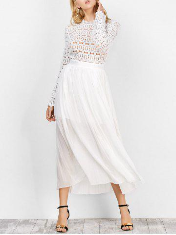 Chiffon Long Sleeve Crochet Swing Bridesmaid Dress - White - L