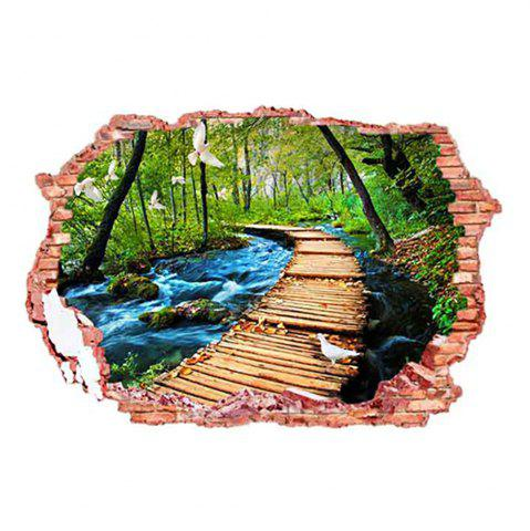 Fancy 3D Stereo Removable Nature Landscape Living Room Wall Stickers COLORFUL