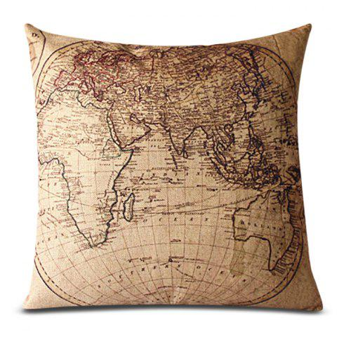Cheap Classical Linen World Map Pattern Decorative Pillowcase(Without Pillow Inner)