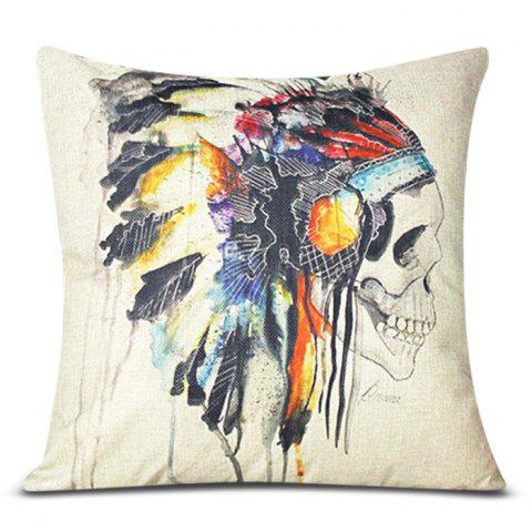 Shop Colorful Square Skull Pattern Decorative Pillowcase(Without Pillow Inner)