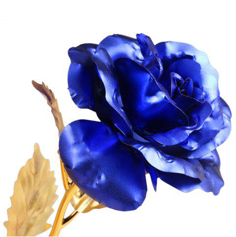 Affordable 1PCS Gold Plated Rose Flower Birthday Gift - BLUE  Mobile