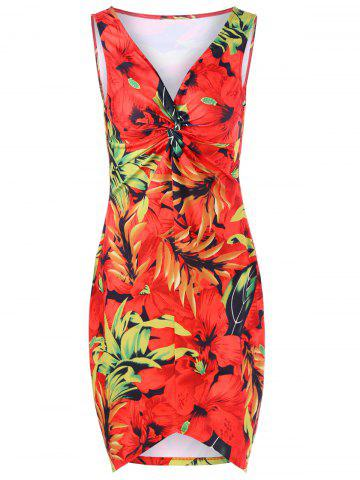 Store Plus Size Twist Front Floral Hawaiian Dress RED XL