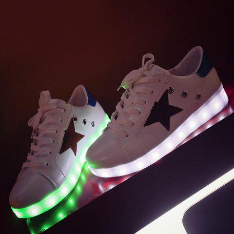 Color Block Led Luminous Athletic Shoes - White - 37