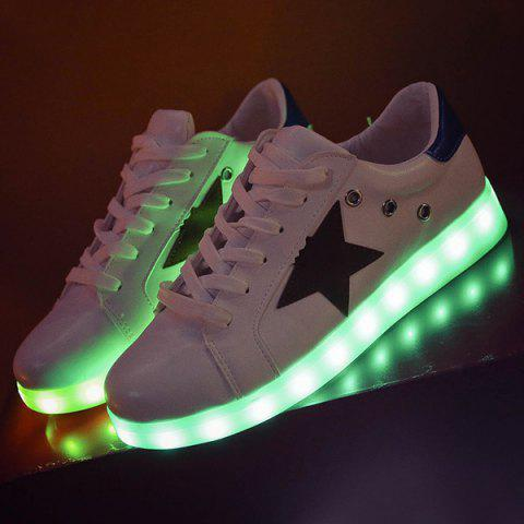 Outfits Color Block Led Luminous Athletic Shoes - 40 WHITE Mobile