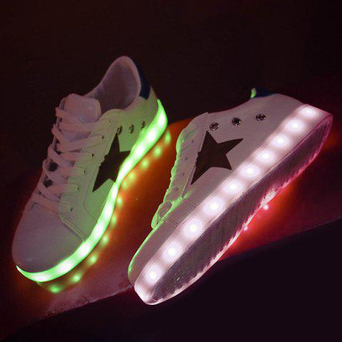 Outfit Color Block Led Luminous Athletic Shoes - 42 WHITE Mobile