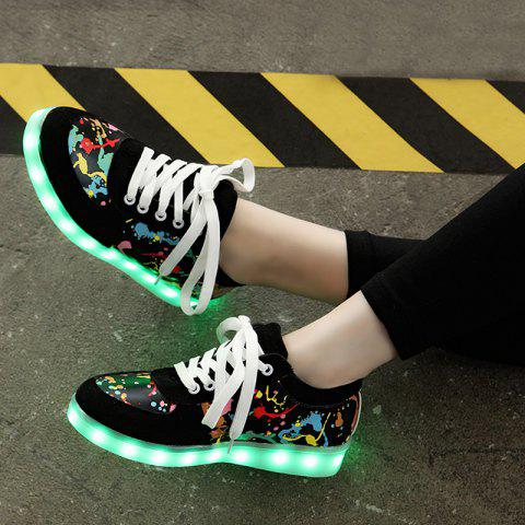 Shops Led Luminous Multicolor Athletic Shoes - 37 BLACK Mobile