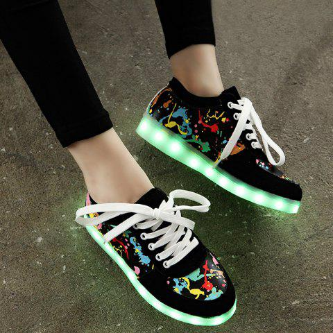 Led Luminous Multicolor Athletic Shoes - Black - 37