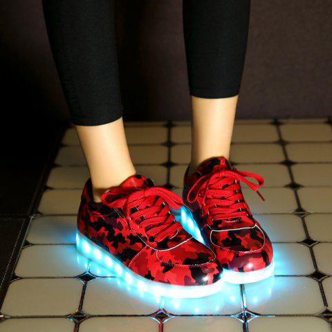 Online Led Luminous Faux Leather Athletic Shoes - 38 RED Mobile