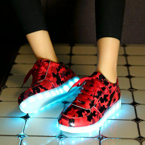Discount Led Luminous Faux Leather Athletic Shoes - 38 RED Mobile