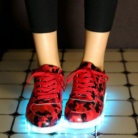 Cheap Led Luminous Faux Leather Athletic Shoes - 38 RED Mobile