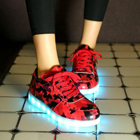Hot Led Luminous Faux Leather Athletic Shoes - 38 RED Mobile