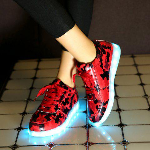 Cheap Led Luminous Faux Leather Athletic Shoes - 39 RED Mobile
