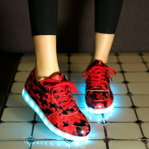 Online Led Luminous Faux Leather Athletic Shoes - 39 RED Mobile