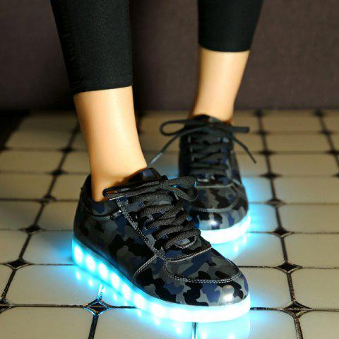 Fashion Led Luminous Faux Leather Athletic Shoes - 38 DEEP GRAY Mobile