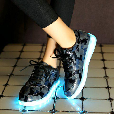 New Led Luminous Faux Leather Athletic Shoes - 42 DEEP GRAY Mobile
