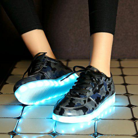 Shop Led Luminous Faux Leather Athletic Shoes - 42 DEEP GRAY Mobile