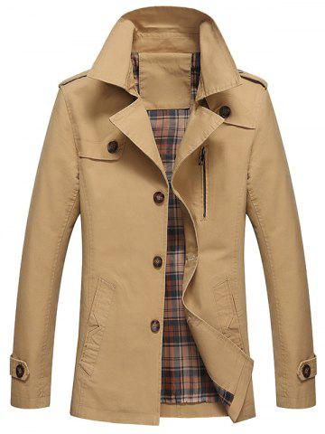Outfit Button Up Notch Lapel Collar Jacket - L KHAKI Mobile