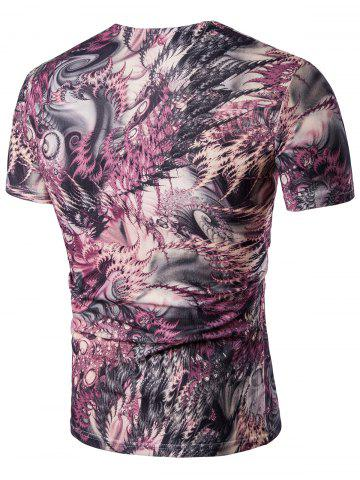 Hot Printed Short Sleeve V Neck Tee - 3XL COLORMIX Mobile