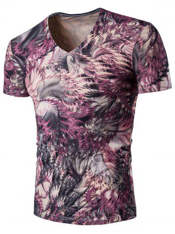 Affordable Printed Short Sleeve V Neck Tee - 3XL COLORMIX Mobile