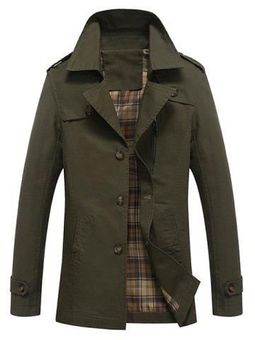 Buy Button Up Notch Lapel Collar Jacket ARMY GREEN M