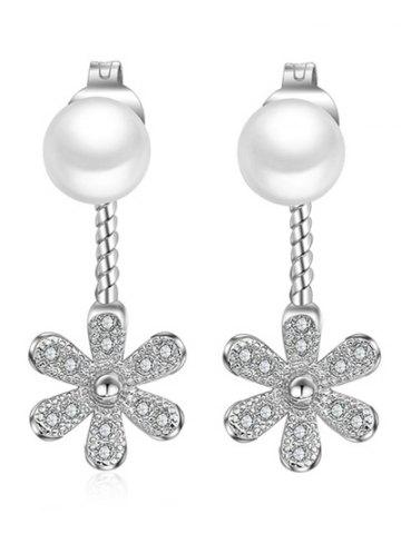 Faux Diamond and Pearl Floral Earrings - Silver - One-size