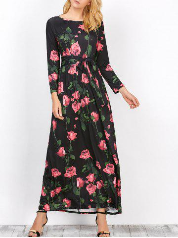 Online Floral Long Sleeve Maxi Prom Dress BLACK S