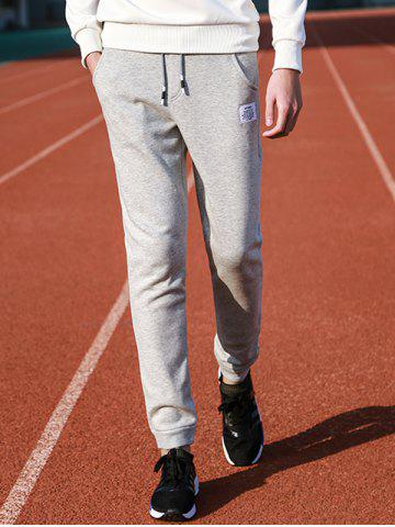 Letter Patched Drawstring Jogger Pants