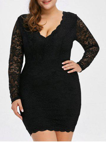 Chic Low Cut Lace Short Bodycon Scalloped Dress with Long Sleeves BLACK 5XL