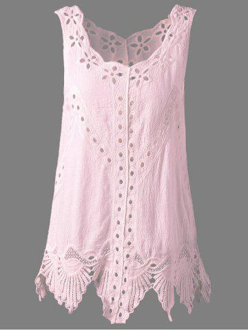 Buy Bohemian Scoop Neck Crochet Sleeveless Solid Color Blouse For Women PINK ONE SIZE