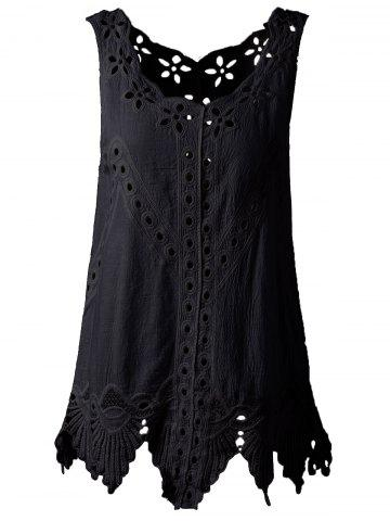 Unique Bohemian Scoop Neck Crochet Sleeveless Solid Color Blouse For Women BLACK ONE SIZE