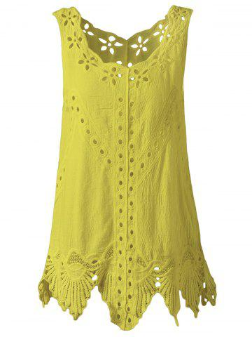 Best Bohemian Scoop Neck Crochet Sleeveless Solid Color Blouse For Women YELLOW ONE SIZE