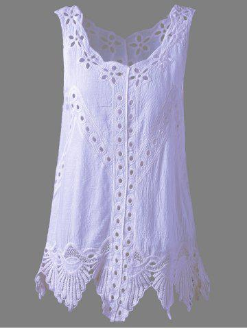 New Bohemian Scoop Neck Crochet Sleeveless Solid Color Blouse For Women LIGHT PURPLE ONE SIZE