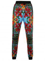 Drawstring 3D Flower Print Jogger Pants