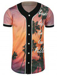 Palm Tree Tropical Print Baseball Jersey