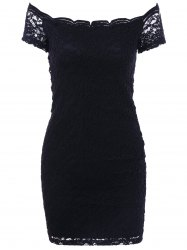 Lace Off Shoulder Mini Skinny Bodycon Dress - BLACK