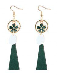 Flower Circle Faux Gem Drop Earrings