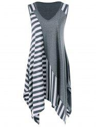 Striped Long Handkerchief Sleeveless Flowy T-Shirt - GREY AND WHITE XL