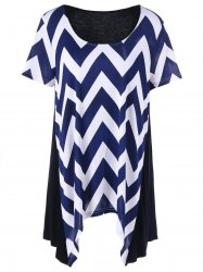 Chevron Asymmetrical Plus Size T-Shirt
